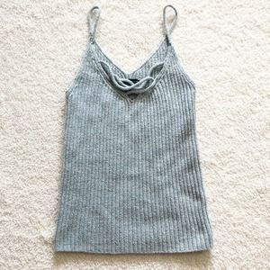 American Eagle X-Small Womens Light Blue Gray Ribbed Knit Tank Top
